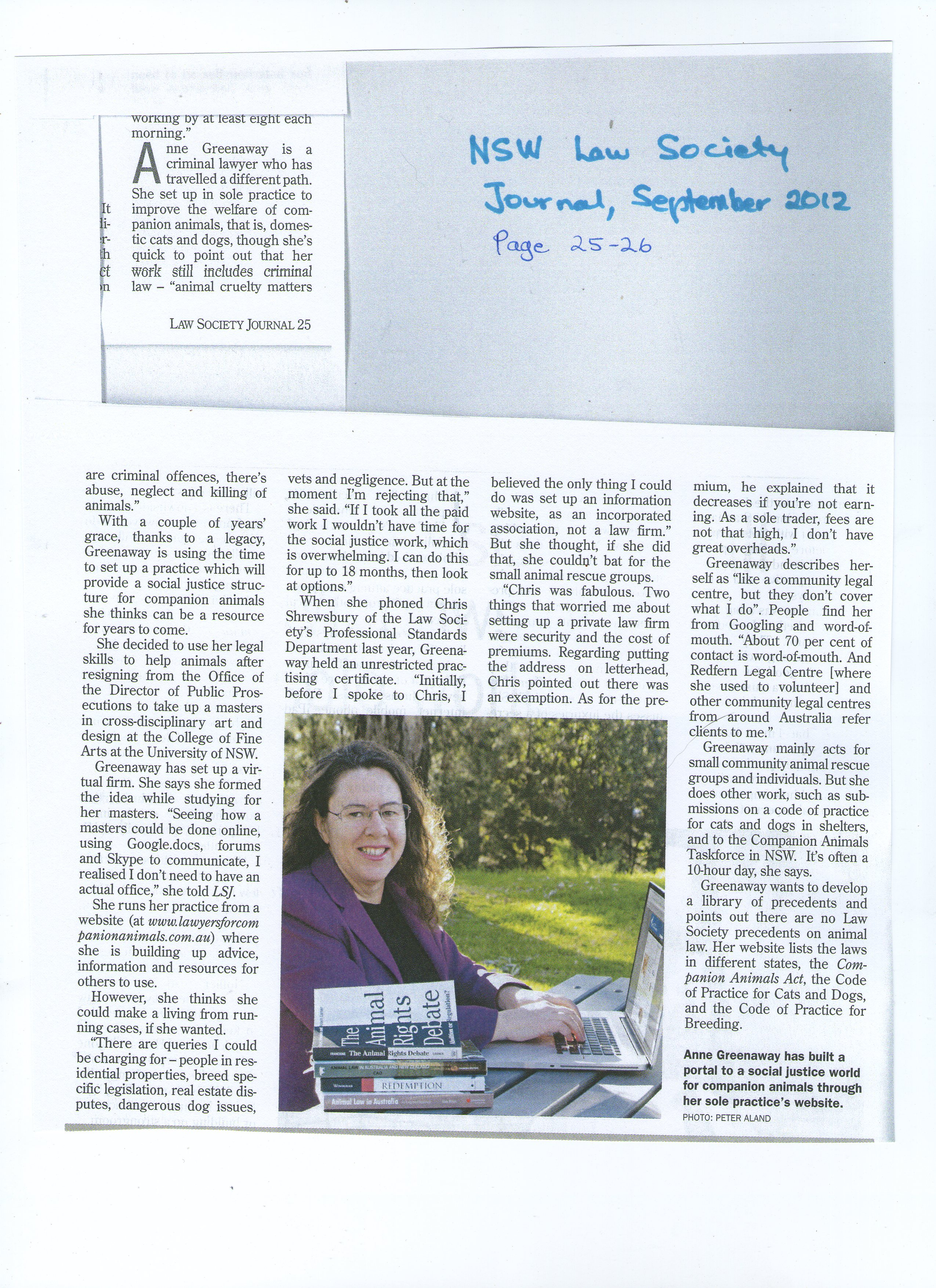 NSW Law Society Journal article, September 2012